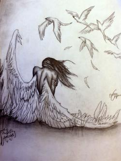 Fallen Angel clipart pencil drawing