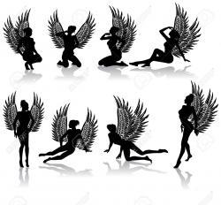 Fallen Angel clipart silhouette