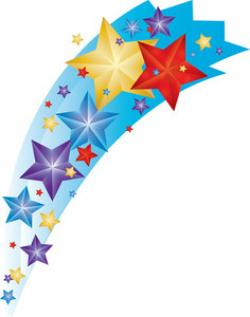 Colouful clipart shooting star