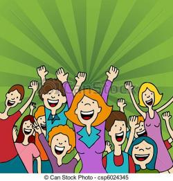 Fans clipart happy crowd