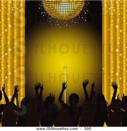 Curtain clipart gold stage
