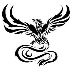 Phoenix clipart black and white