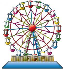 Drawn ferris wheel giant wheel