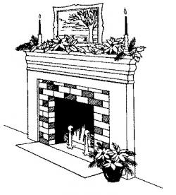 Fireplace clipart black and white