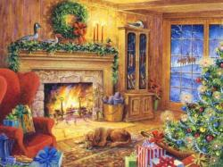 Fireplace clipart christmas living room