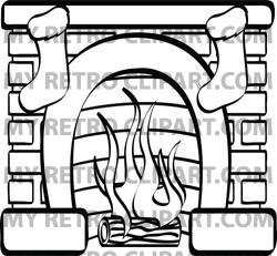 Fireplace clipart coloring