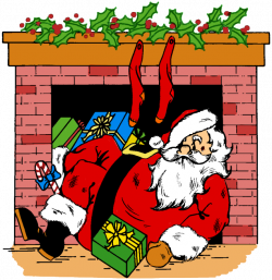 Fireplace clipart santa claus