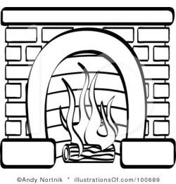 Fireplace clipart sketch