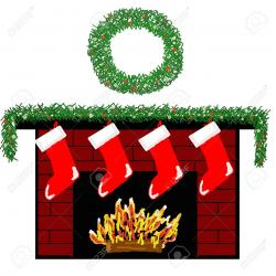Fireplace clipart stocking