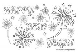 Fireworks clipart coloring page