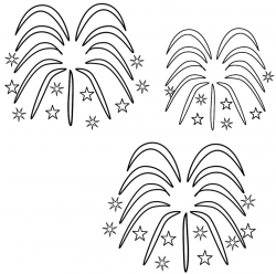 Fireworks clipart colouring page