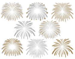 Fireworks clipart gold and silver