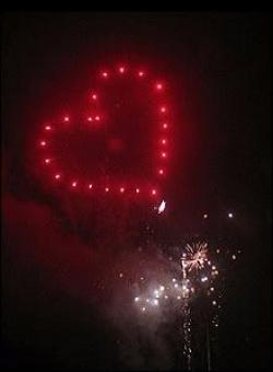 Fireworks clipart heart shaped