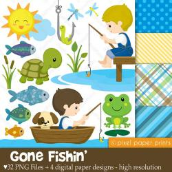 Fisherman clipart gone fishing