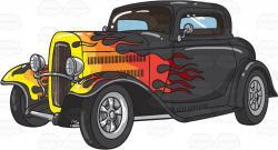 Flames clipart classic car