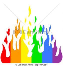 Flames clipart rainbow