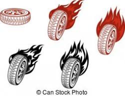 Flames clipart tire