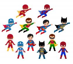 Little Boy clipart superhero