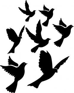Drawn dove flight silhouette
