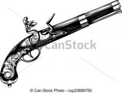 Drawn pistol old gun