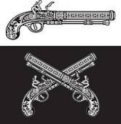 Flint Lock clipart guns and rose
