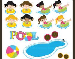 Floating clipart kids pool