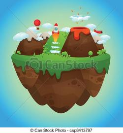 Floating Island clipart cartoon