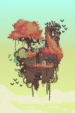 Floating Island clipart pixel art