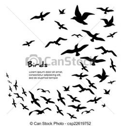 Flock Of Birds clipart line art