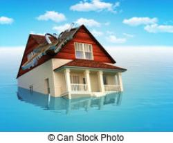 Flood clipart damaged house