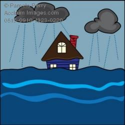Flood clipart flooded house