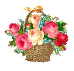 Victorian clipart bouquet red rose