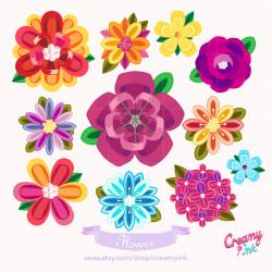 Illustration clipart colourful flower