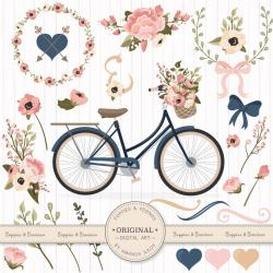 Floral clipart bicycle