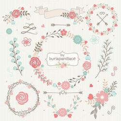 Rustic clipart floral garland