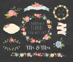 Floral clipart chalkboard
