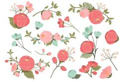 Floral clipart coral