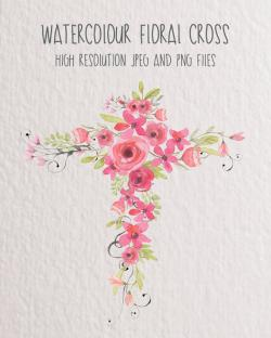 Floral clipart cross