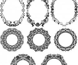 Floral clipart decorative circle
