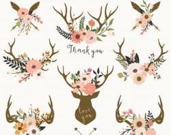 Floral clipart deer