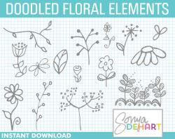 Floral clipart doodle