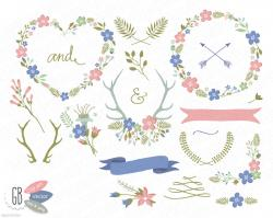 Folk clipart rustic heart
