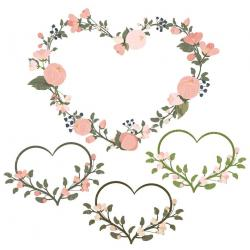 Floral clipart heart wreath