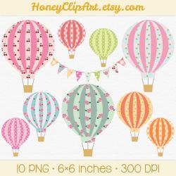 Floral clipart hot air balloon