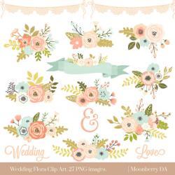 Floral clipart invitation
