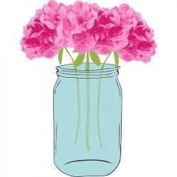 Mason Jar clipart pink hydrangea