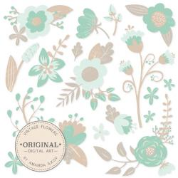 Floral clipart mint green