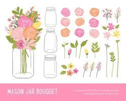 Mason Jar clipart bouquet