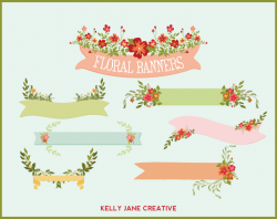 Floral clipart ribbon banner