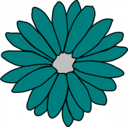 Floral clipart teal